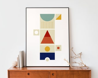 Abstract Totem geometric shapes Minimalist print wall art, Instant download 50 x 70 large poster, Graphic design lovers print decor