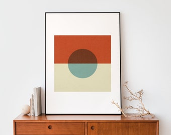 Square and dot Turquoise and red Mid century modern Abstract geometric instant download 50 x 70 cm poster Minimalist print wall art decor