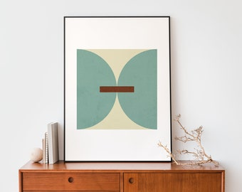 Turquoise and red abstract Abstract geometric instant download 50 x 70 cm poster print Mid century modern minimal wall art design home decor