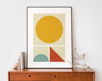 Abstract Sun landscape geometric instant download 50 x 70 cm wall art poster, Minimalist Bauhaus inspired, Graphic design lovers print decor