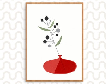 Red Mid century vase with geometric dark flowers wall art illustration for a modern retro and Scandinavian and nordic decor, Graphic print