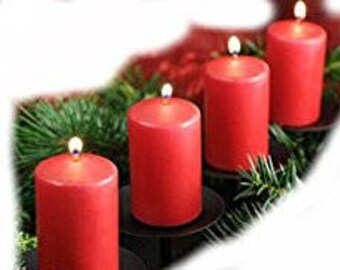 Classic English Christmas Advent Candles set of 4