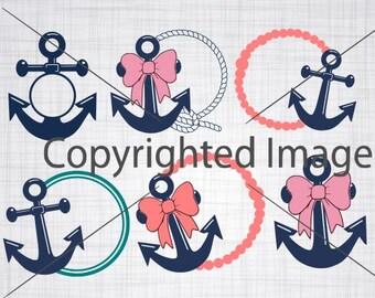 Anchor Frames; Summer Svg; Anchor Svg; Preppy Monogram Frames; Monogram Frames; Cut Files; Cricut; Silhouette; Cameo; Dxf; Png;