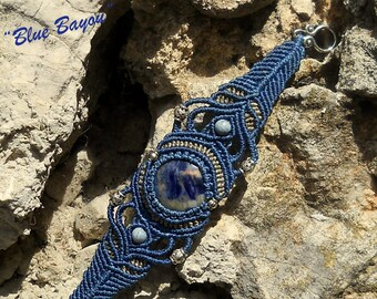 Unique macrame bracelet with cabochon Jasper