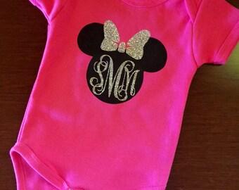 Minnie mouse short sleeve monogrammed  Onesie