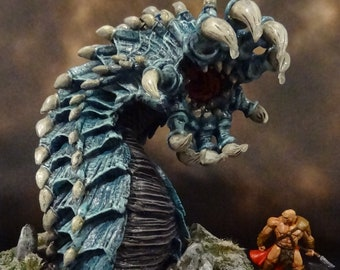"""Icy Blue Worm """"Miniature"""" (Reaper Miniatures' """"Goremaw, Great Worm"""")"""