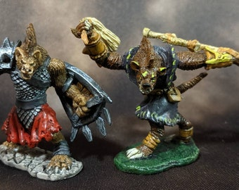 Painted Beastman and Kobold Miniatures (from the 'Reaper Miniatures', Warhammer, and miscellaneous lines)