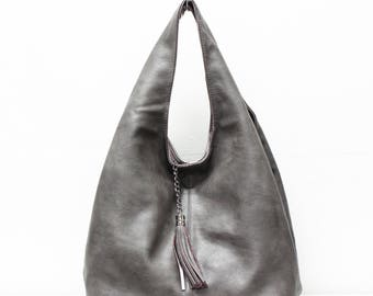 Hobo bag with metallic bronze lining and tassel 6462b961af03a