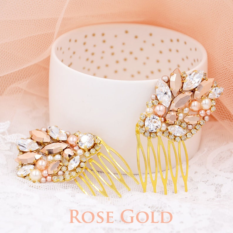 34400da14 Rose Gold Bridal hair comb Rosana Rose Gold hair comb Rose | Etsy