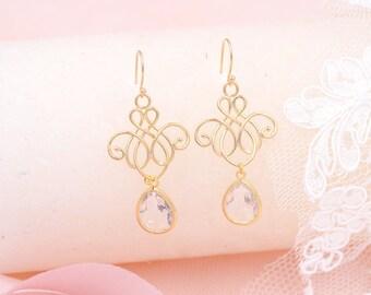 boucles d'oreilles mariée goutte, bijoux  mariée doré, Nila,, Bijoux mariage boho, bijoux mariage romantique, Bijoux bleu, bohème