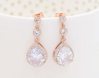 Silver Cubic Zirconia Teardrop Bridal Earrings, Charly, Crystal Teardrop Bridal Earrings, Cubic Zirconia Bridal Jewelry,  rose gold jewelry