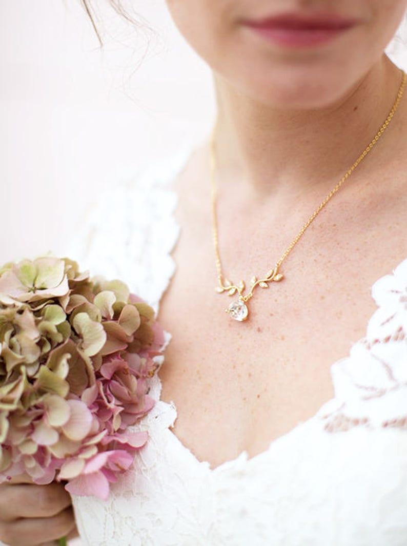 romantic bride Cubic Zirconia  Vine And Teardrop Rose GOLD  Bridal Necklace CZ Vine Bridal Necklace With Teardrop Pendant Bridal Necklace