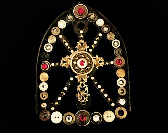 Altered Vintage Iron Trivet Wall Hanging with Vintage Brass Cross,  Vintage Buttons, and Swarovski Crystals amd Pearls