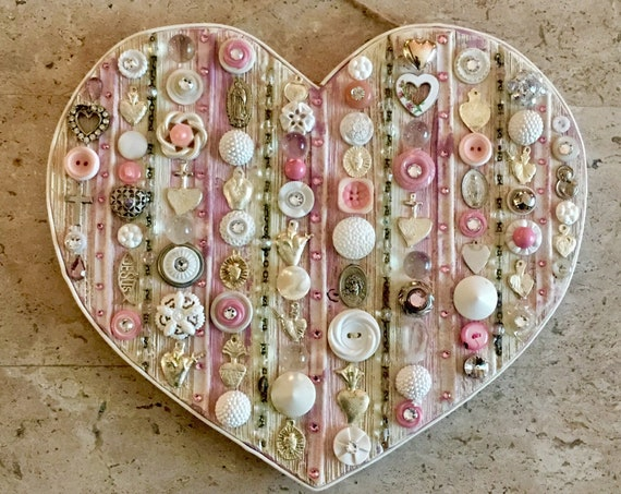Mixed Media Devotional Heart with Vintage Charms, Buttons, Crystals, Rhinestones, Mexican Charms and Vintage Rosary