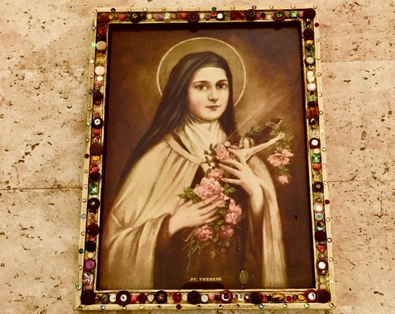 Antique Saint Therese Print with Decorative Frame
