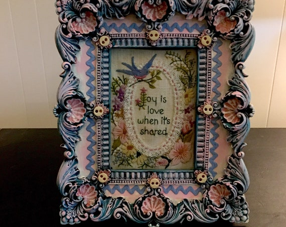 Hand Painted Frame with Vintage Decorations and Vintage Embroidery Art