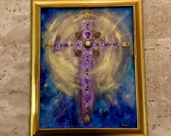 Cross Painting with Mixed Media Vintage Elements