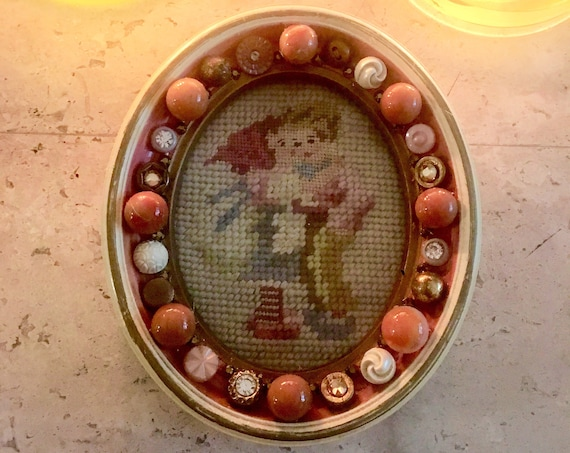Darling Antique Girl and Boy Needlepoint in Original Decorative Frame with Vintage Elements