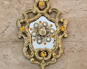 Devotional Heart Cast Iron Mirror with Sweet Vintage Elements