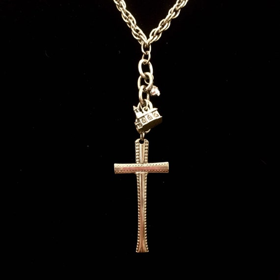Beautiful Vintage Engraved Silver Metal Cross Necklace with Vintage Sterling Silver Church Charm and Swarovski Crystal Charm
