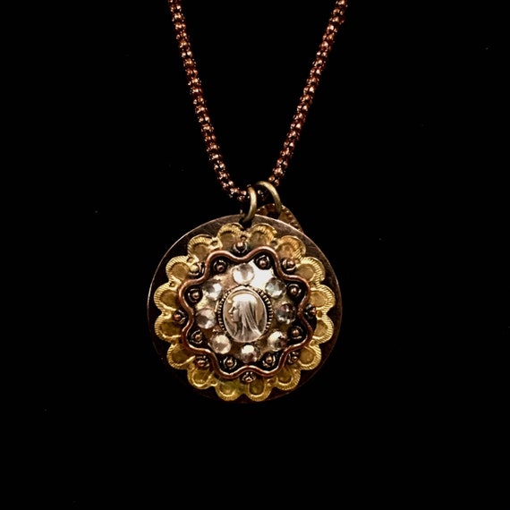 Antique Lord's Prayer Charm with Vintage Our Lady of Lourdes Religious Medallion Necklace
