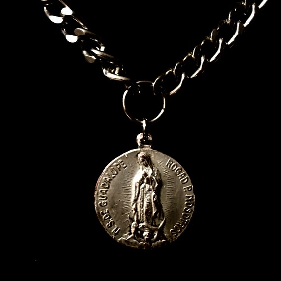 Vintage Doublesided Our Lady of Guadalupe and Saint Teresa of Jesus Silver Plated  Medallion Necklace