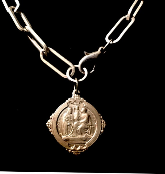 Vintage  Holy Family Doublesided Brass Medallion with Upcycled Lobster Clasp Chain