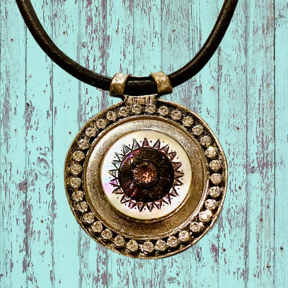 Hand-engraved Antique Button Necklace with Repurposed Vintage Rhinestones and Brown Leather Chain