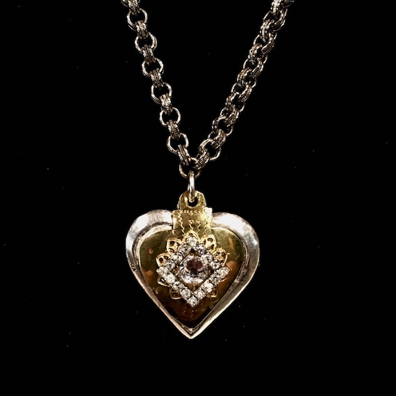Upcycled Solid Silver Tone Metal Heart with Mexican Devotional  Heart and Vintage Rhinestones and Swarovski Crystal