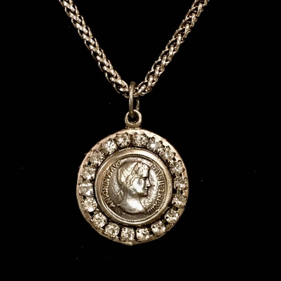 One-of-a-kind Vintage Julius Caesar Button Necklace with Vintage Weiss Rhinestones