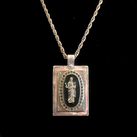Vintage Black Enamel and Silver Metal Jesus Medallion on Upcycled Rectangular Pendant