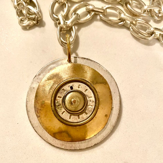 Repurposed Vintage Watch Face, Multi Metal Necklace with Upcycled Vintage Button, Upcycled Jewelry Parts snd Silver Tone Double-link Chain