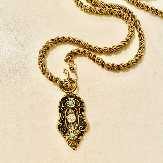 Antique Decorative Brass Pendant With Vintage Turquoise Cabochons and Swarovski Crystal