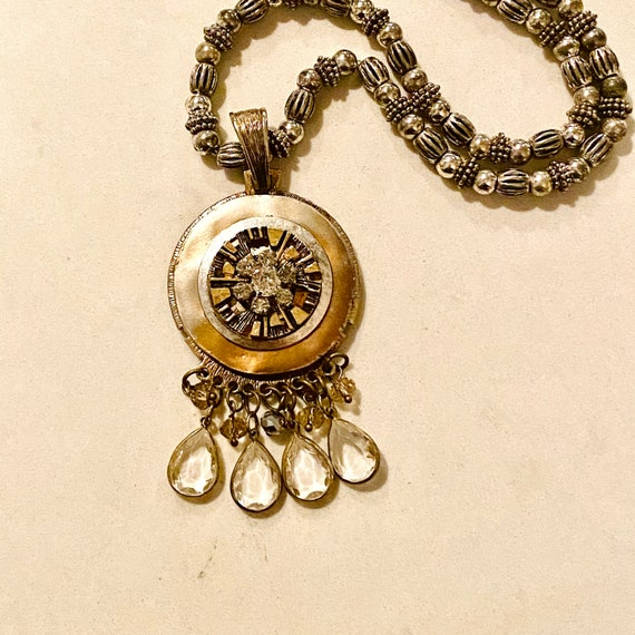 Vintage Mixed Metal Button Necklace with Crystals