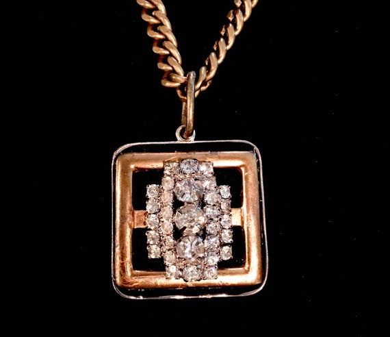 Vintage Rhinestone and Brass Buckle Pendant Necklace