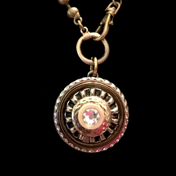 Repurposed Vintage Button Mixed Metal Necklace with Swarovski Crystal