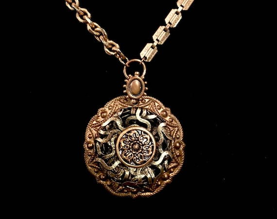 Ornate Mixed Metal Vintage Button Necklace
