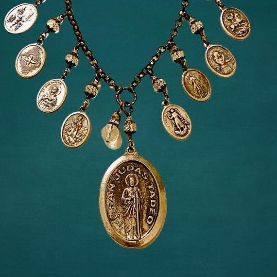 Vintage San Judas Tadeo (Saint Jude Thaddeus) Pendant Necklace with Eight Vintage Saint and Angel Charms with Cut Glass Cabochons