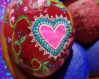 painted rocks, Valentines gift, love , gratitude, hearts, painted stones, dot art, folk art, red