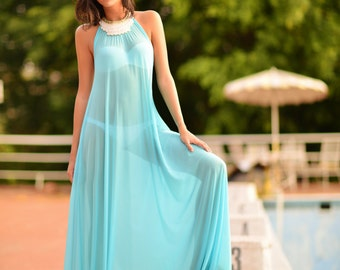 Swimsuit Coverup Turquoise Mesh Halter