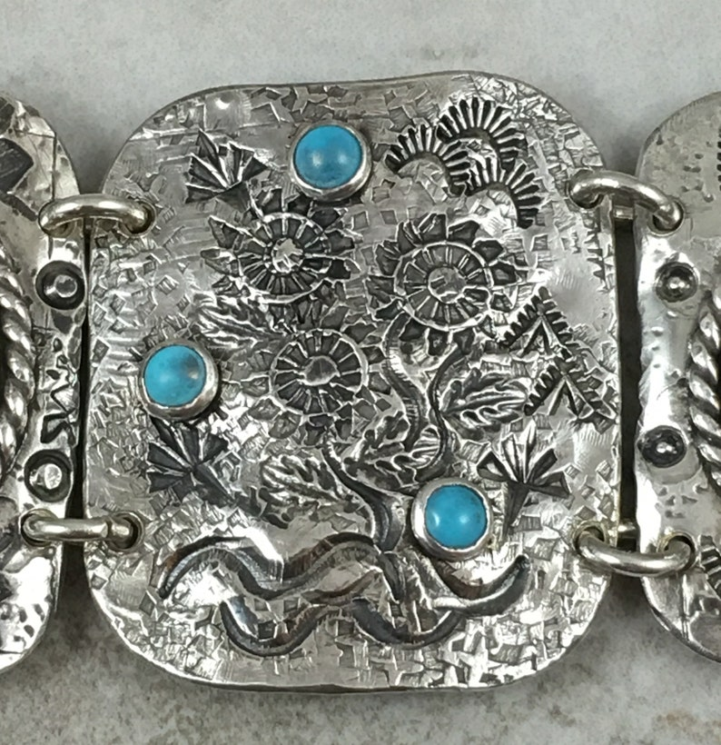 Sterling Silver Sectional Turquoise Bracelet