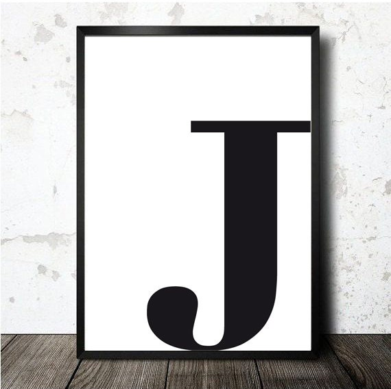 Letter J Poster Printable In A4 Monogram Initial Print Etsy