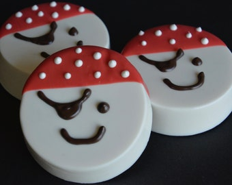 Chocolate Covered Oreos Pirates Favor(12),Pirate Party,Baby Shower Ideas,Baby Shower Party Favors,Chocolate Pirate Cookie,Pirate Chocolates