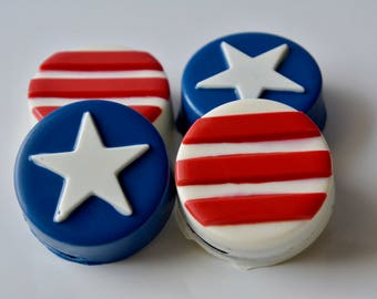 Chocolate Covered Oreos Americana (12), Stars and Stripes, USA Chocolate, America, Superhero Chocolate, Candy, Candy Buffet, Military Star