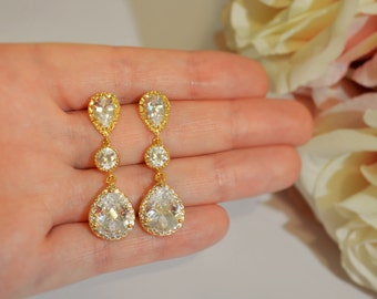 Wedding Jewelry Bridesmaid Jewellery Bridesmaid Earrings Bridal Earrings Gold Plated Cubic Zirconia Tear Drop Stud Earrings Gift