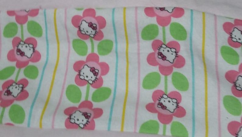 Hello Kitty Spring Flowers Rag Quilt 44 x 50  Homemade