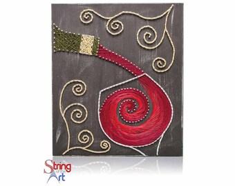 DIY String Art Kit -Wine String Art, DIY Kit, Wine Art, Crafts Kit, Wine Lover Gift, Adult Crafts, Mother's Day Gift, Gift for Mom, Wine Art