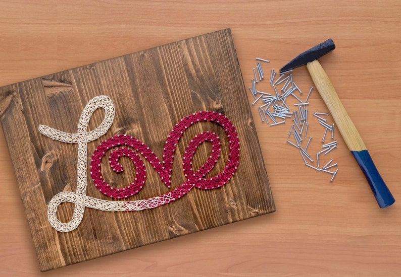 Red and White Love String Art Kit  DIY String Art Love Sign image 0