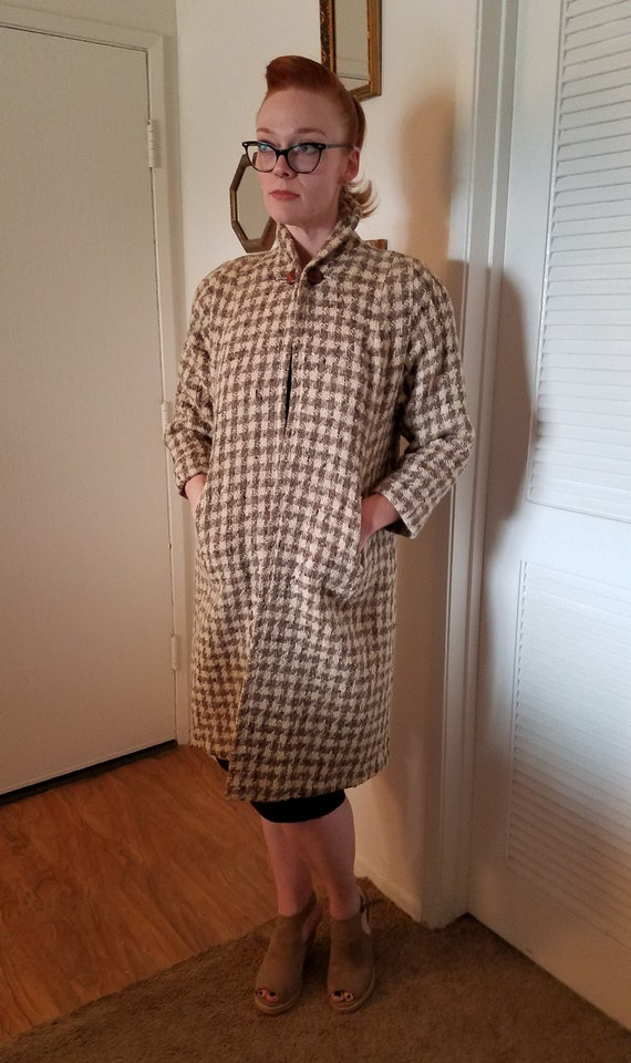 1950s Heavy Houndstooth Coat Retro Jacket Outerwea