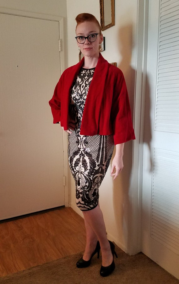 Vintage Red Velvet Cocktail Cape - 1950s retro eve